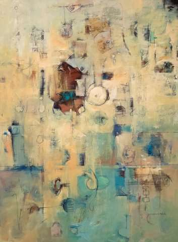 """Messages Old and New, acrylic/graphite on Canvas, 40""""h x 30""""w"""