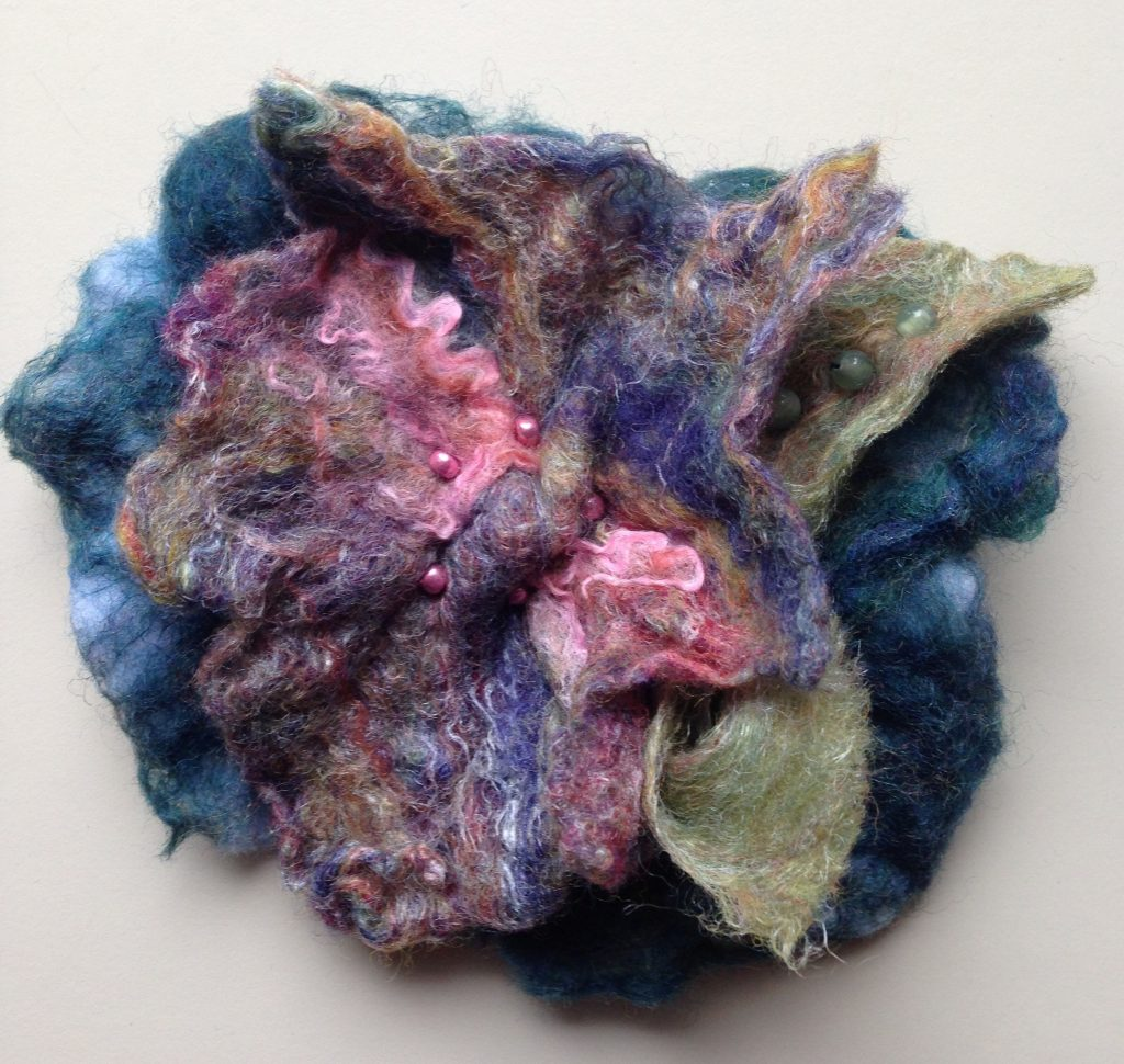 blue multi felted pin