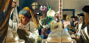 Kite, Barry__Girl with Pearl Earring and Meth Lab__over-painted archival inkjet print of digital collage on canvas_39x80