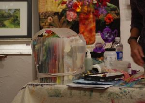 Tools of the trade - Carolyn is a big fan of using handmade dyed paper and Golden brand products in her art.