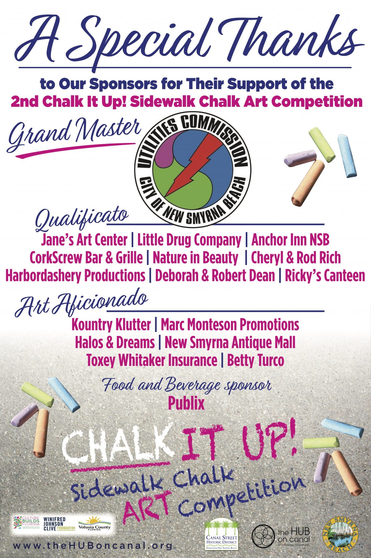 Announcing the Winners for the 2nd Annual Chalk It Up! Sidewalk Chalk Art Competition in New Smyrna Beach