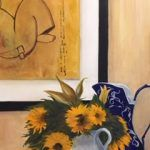 Blue Pitcher with Sunflowers Barbara DiVone Evershed