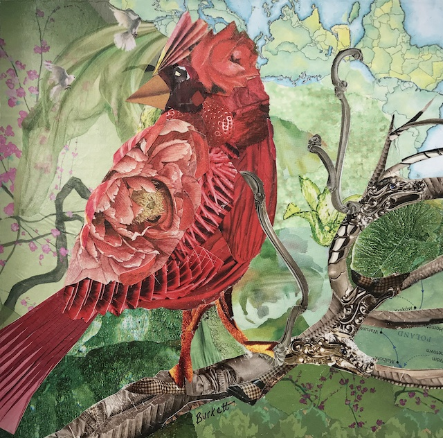 Christmas Cardinal Collage from Recycled Papers with Cindy Burkett