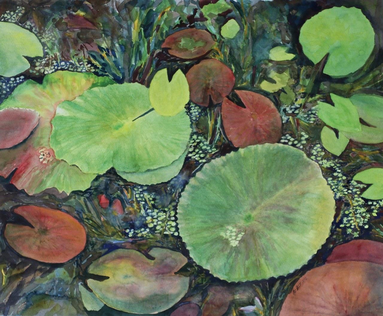 Stewart, Renee, Lilypads at McKee, watercolor, 24x20, $400