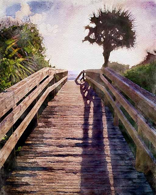 Ocean Walk watercolor