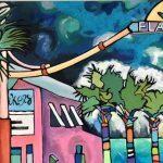 Eliza Midgett, Imminent Indigo Storm, acrylic on canvas, 24 x 36, $375