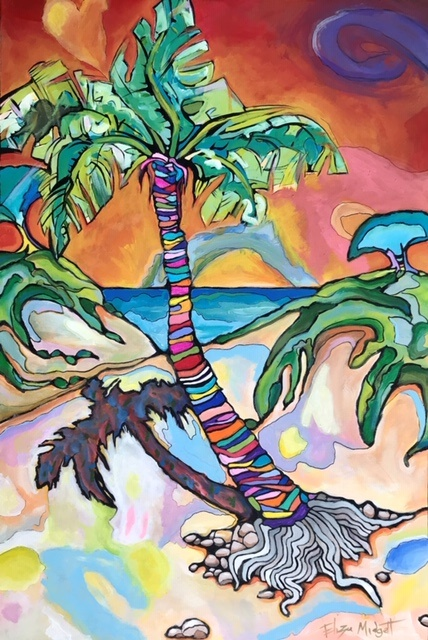 Eliza Midgett, Psychedelic Sabal, acrylic on canvas, 24 x 36, $400
