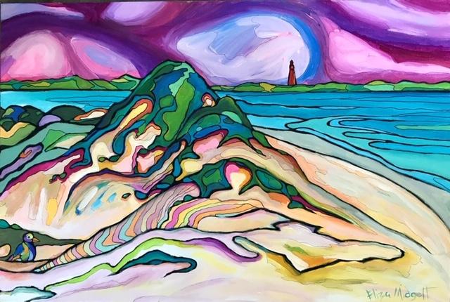 Eliza Midgett, Purple Rain Over Ponce Inlet, acrylic on canvas, 24 x 36, $375