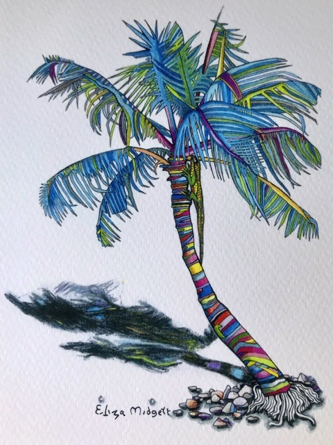 LizaMidgett Lizard's Colorful Day Giclee print 8x10 $30.