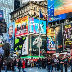 New,York,-,April,9:,Crowds,And,Collage,Of,Neon